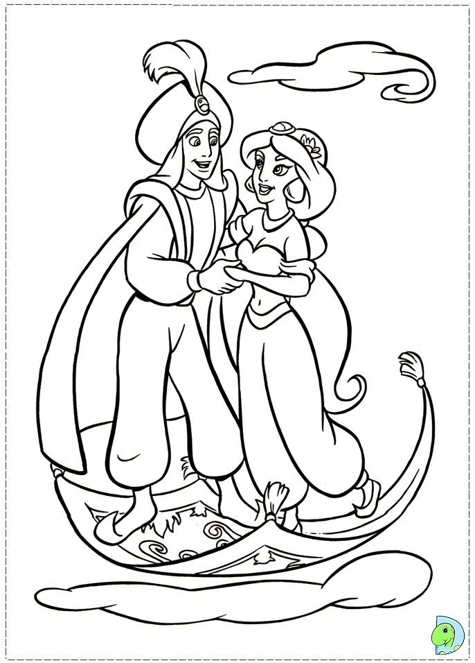 Aladdin and Jasmine coloring page- DinoKids.org  Coloring Pages Of Jasmine And Aladdin