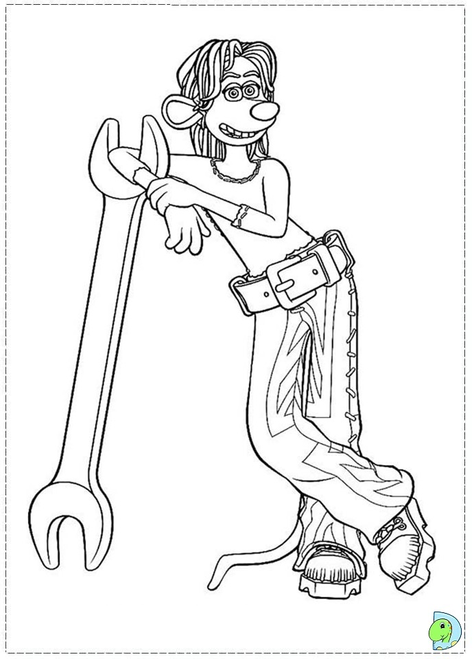Flushed away coloring page DinoKidsorg