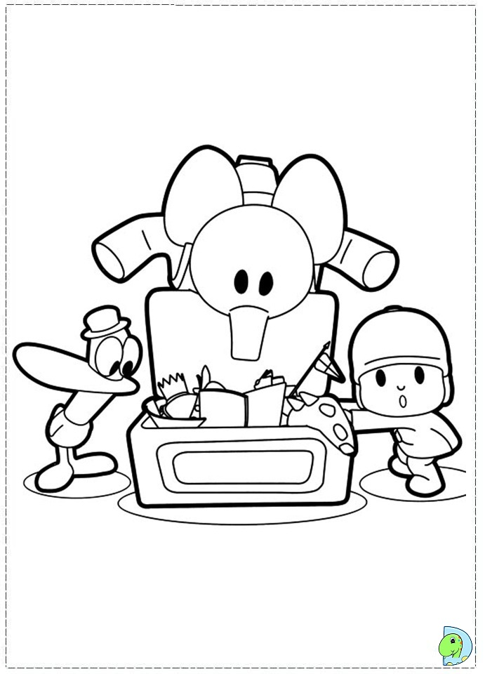pocoyo coloring page dinokidsorg - Pocoyo Friends Coloring Pages