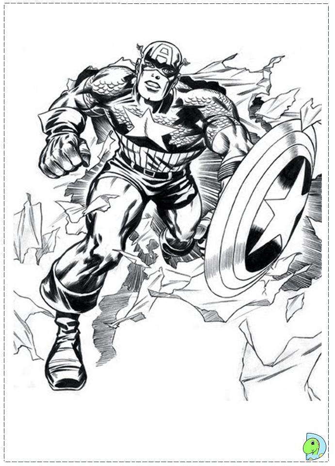 Captain America Ausmalbilder: Captain America Coloring Page- DinoKids.org