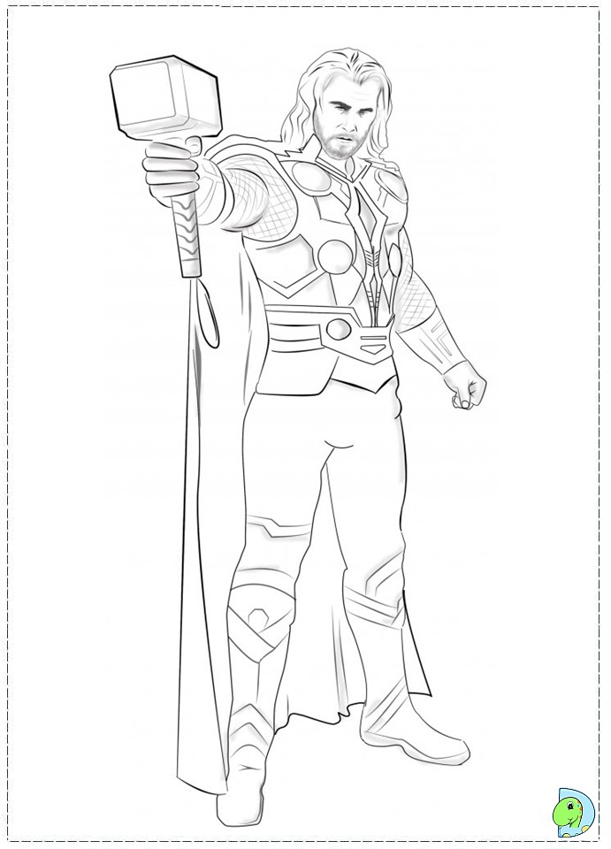 thor coloring page dinokidsorg - Thor Printable Coloring Pages