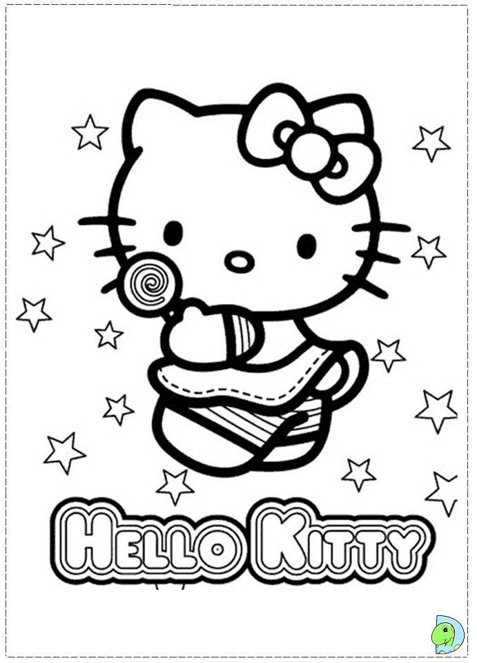 A Coloring Page Of Hello Kitty