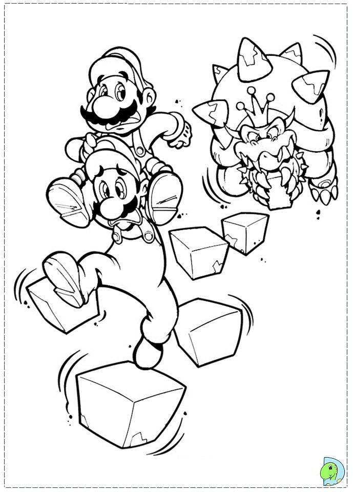 Super Mario Bros Coloring Page Dinokids Org