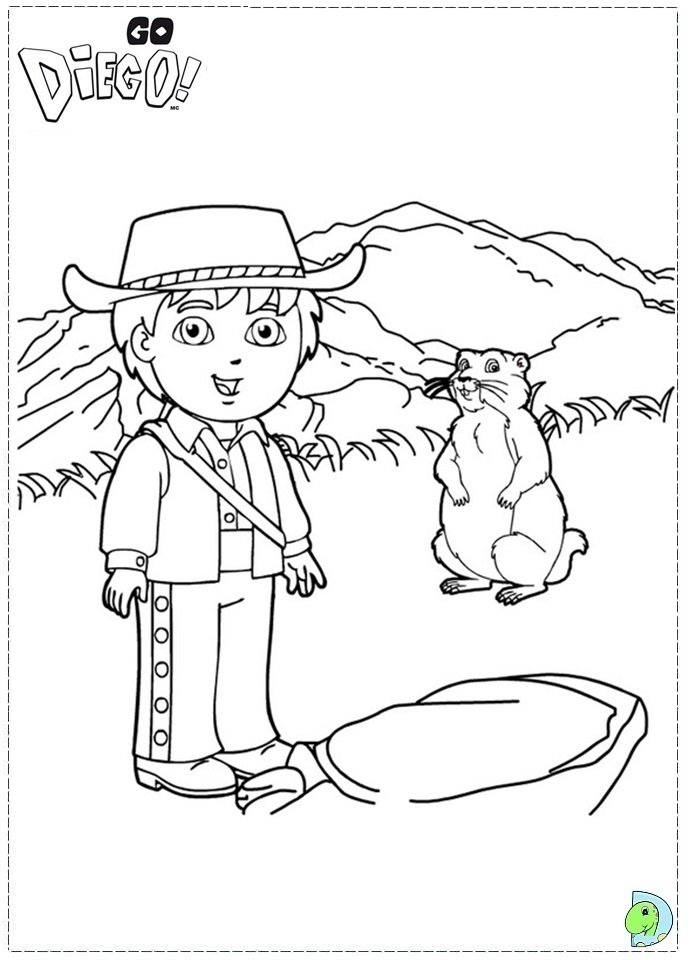 Go Diego coloring page- DinoKids.org