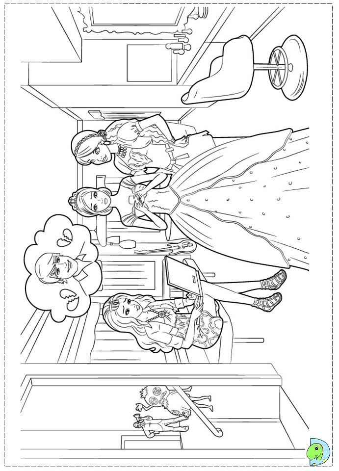 Colouring Pages Barbie Fashion Fairytale : Barbie fashion fairytale coloring pages for kids dinokids