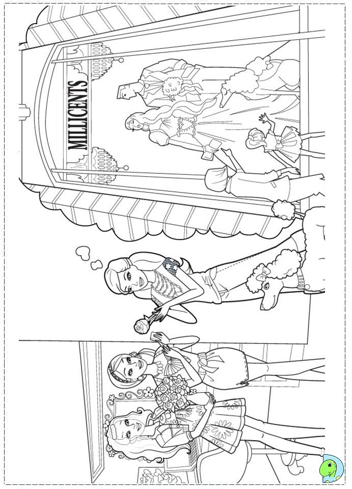 Fashion fairy tale coloring pages for Barbie fashion coloring pages