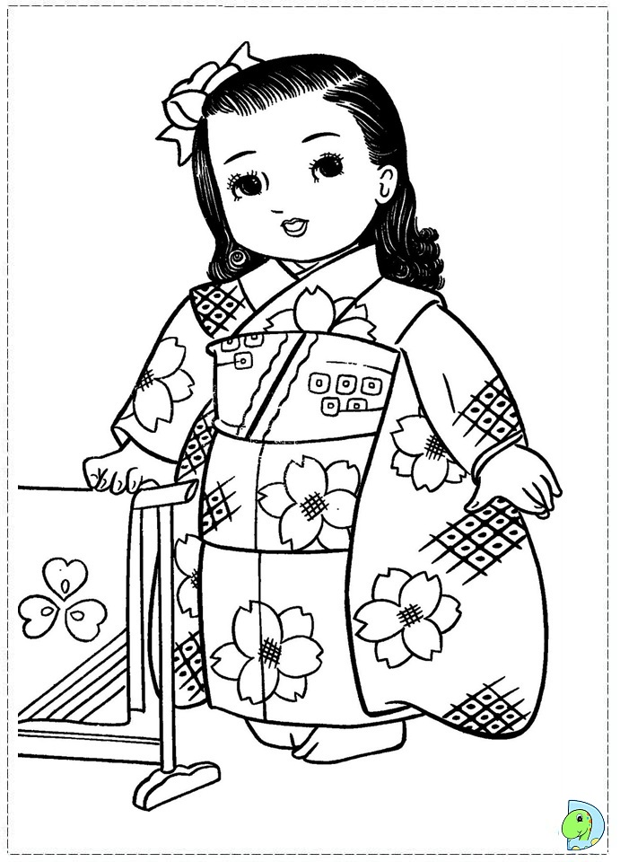 Japanese Girl Coloring Page Dinokids Org