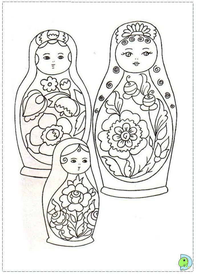 Russian Nesting Dolls Coloring