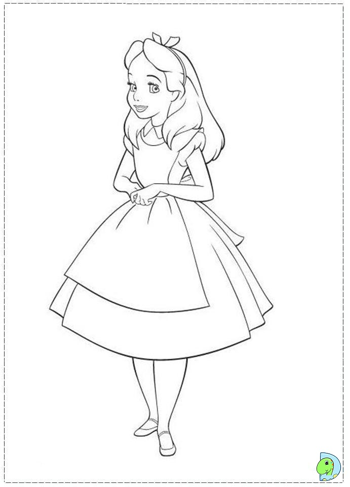 Coloring Pages Disney Alice In Wonderland : Alice in wonderland coloring page dinokids
