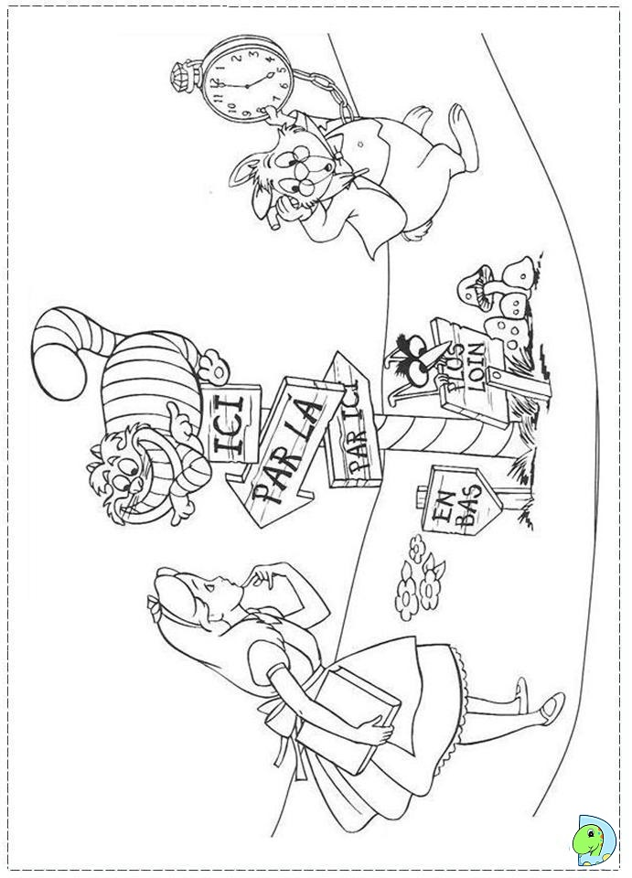 alice in wonderland coloring page dinokidsorg - Alice Wonderland Coloring Pages