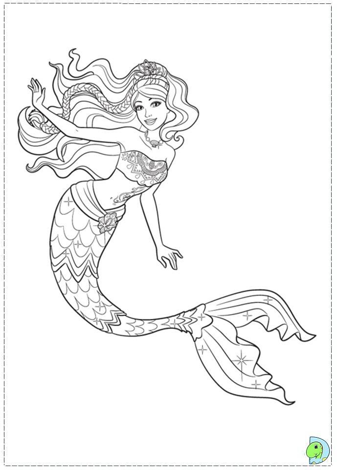 Coloring Pages Of Barbie Mermaid Tale : Barbie in a mermaid tale coloring page dinokids