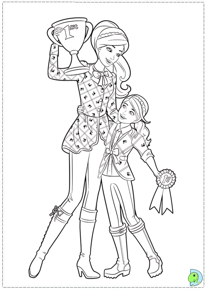 Barbie and her sisters in a Pony Tale coloring Barbie