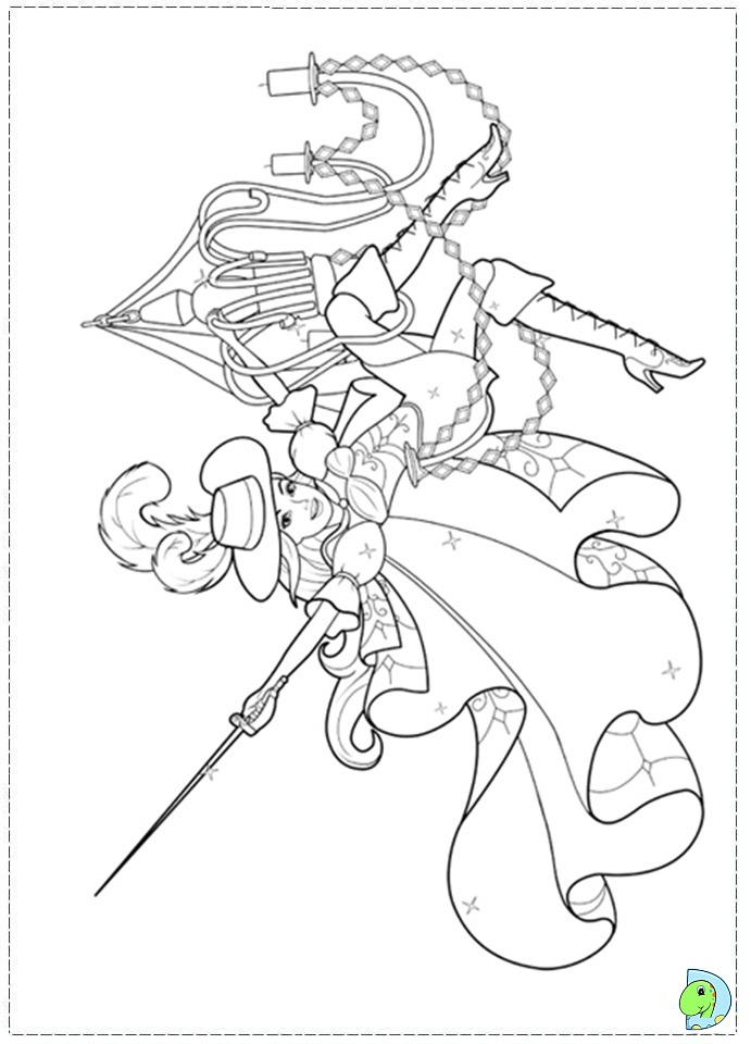 Free Coloring Pages Barbie Three Musketeers : Barbie and the three musketeers coloring page dinokids