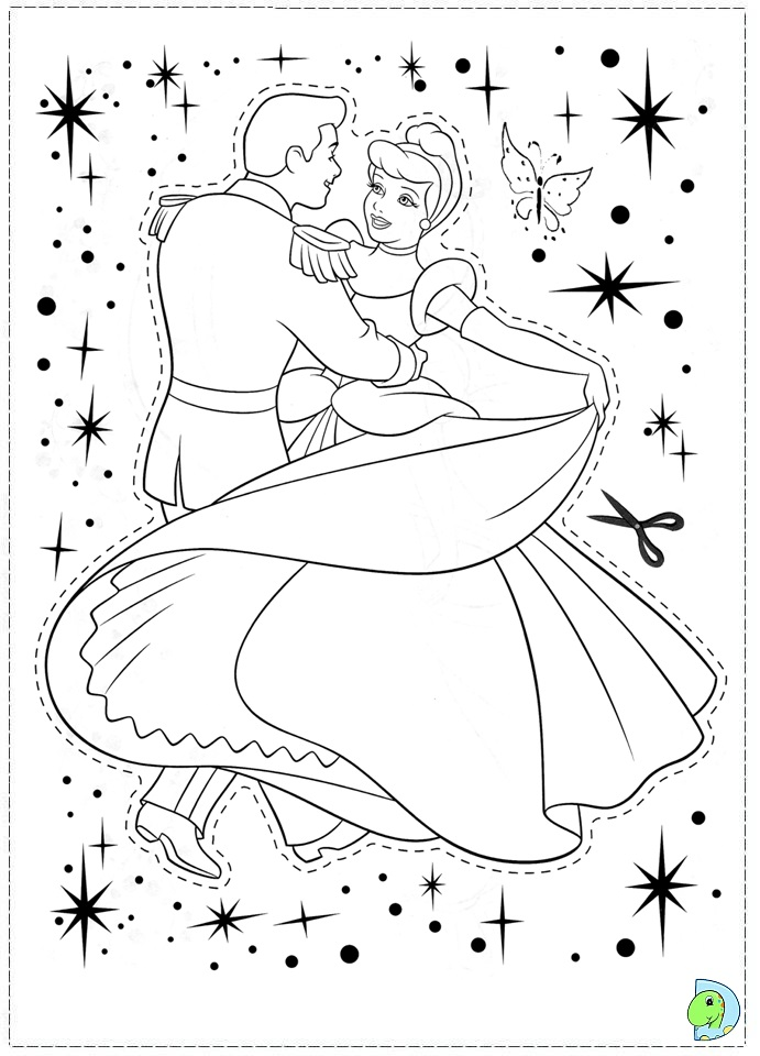 Free Back Print Cinderella Coloring Pages