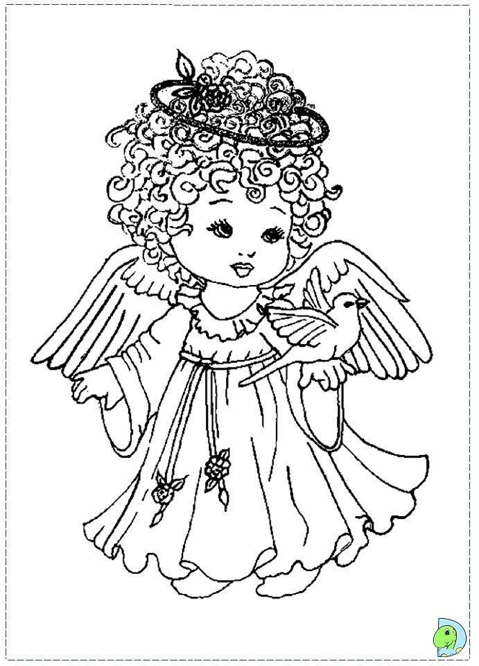 Angel coloring page, Christmas Angel colouring page- DinoKids.org