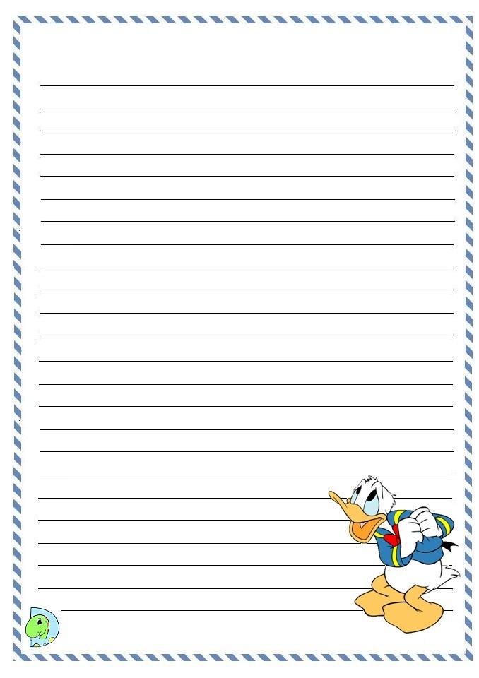 Donald Duck writing paper- DinoKids.org