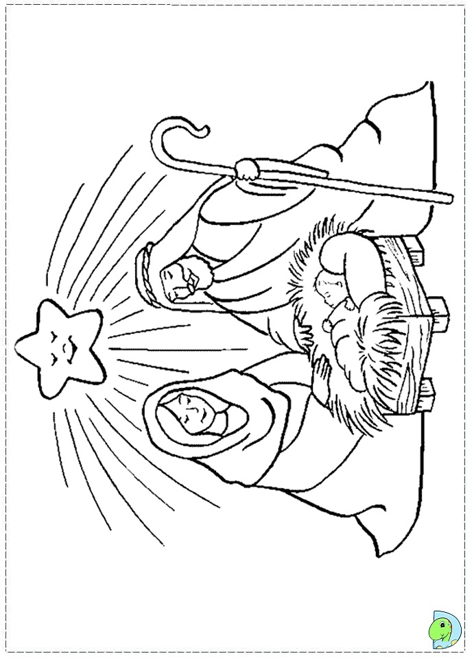 Nativity coloring page- DinoKids.org